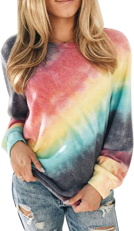 TIKSAWON Womens Casual Crewneck Tie Dye Sweatshirt Long Sleeve Fashion Oversized Lightweight Pullover Tops