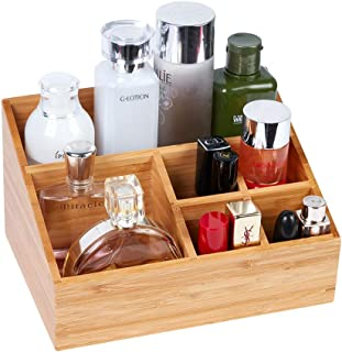 JIADEL Bamboo Cosmetic Organizer, Multi-Function Storage for Makeup, Toiletries, and More - for Vanity, Desk, Bathroom, Bedroom, Closet, Kitchen Bamboo Vanity Organizer