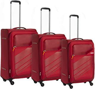 American Tourister Luggage Trolley Bags 3 Pieces, Red, 96O00107-Red, Unisex