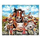 Dawhud Direct Farm Animals Selfie Super Soft Plush Fleece Throw Blanket