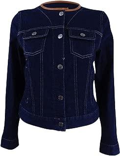 Ralph Lauren LRL Womens Faux Leather Trim Collarless Denim Jacket Blue S