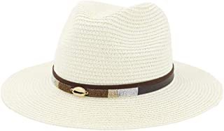 LIWENCUI Women Straw Hat Summer Fashion White Flat Brim Wide Women Jazz Fedoras Hat Sun-Shading Hat Beach Cap Summer (Color : Cream, Size : 56-58CM)