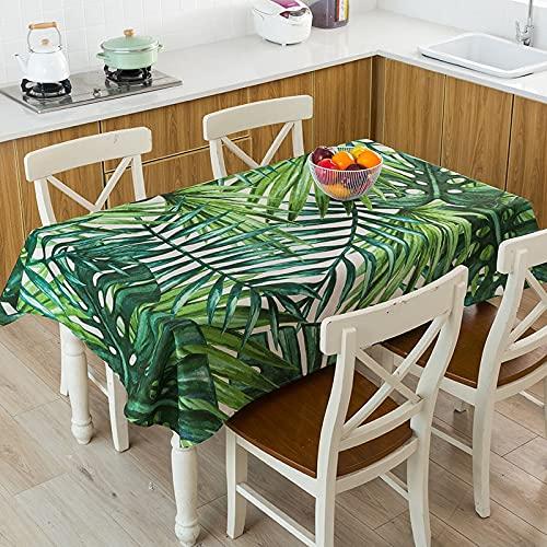 XXDD Mantel geométrico de Hojas de Plantas Tropicales Impermeable, a Prueba de Polvo, Cubierta de Mantel Lavable para manteles de Restaurante A18 140x160cm