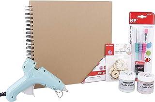 MP - Kit pour Scrapbooking - Album de Photo Couleur Kraft 30x30cm, Figurines en Bois, 2 Peintures Effet Craie Efecto Tiza ...