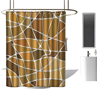 TimBeve Waterproof Shower Curtain Tan and Brown,Stained Glass Style Mosaic with Colorful and Abstract Pieces Fractal Pattern, Multicolor,Durable Waterproof Fabric Bathroom Curtain 36