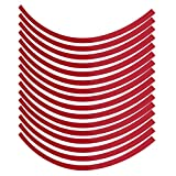 Acouto 16pcs Reflective Wheel Stripe Rim Tape Decoration Trim Pinstripe Decal Tape Sticker Fit for 16-19 inch Car Bike Mortorcycle Wheels (red)