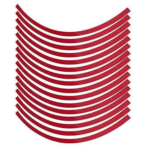 Reflectores universales de rueda de motocicleta para coche, cinta reflectante a rayas, cinta adhesiva, película decorativa, 6 colores(rojo)