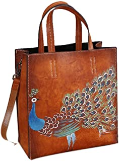 Sturdy New Retro Leather Ladies Handbags Hand-Painted Animal Business Diagonal Cross Handbag Casual Outdoor Backpack. Large Capacity (Color : Brown)
