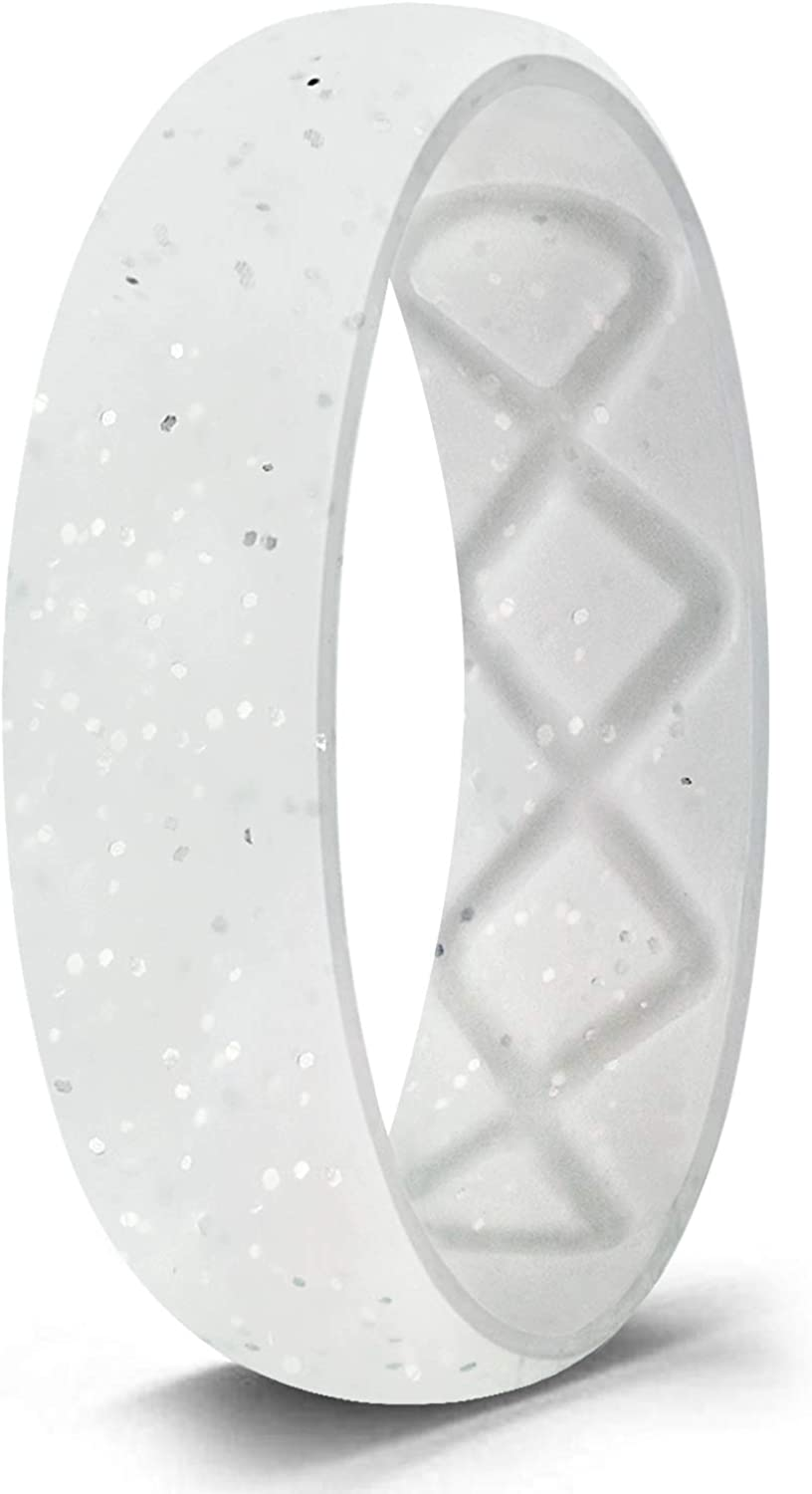 Egnaro Inner Arc Ergonomic Breathable Design, Metallic Silicone Rings for Women, Silicone Wedding Band Women, 6mm Wide - 2mm Thick