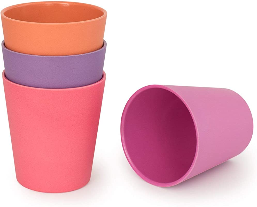 BOBO BOO Adult Sized 16oz Eco Friendly Bamboo Cups For Adults Kids 4 Set Durable Bamboo Dinnerware Set For Home Picnic Party Time BPA Free Dishwasher Safe FDA Approved SUNSET