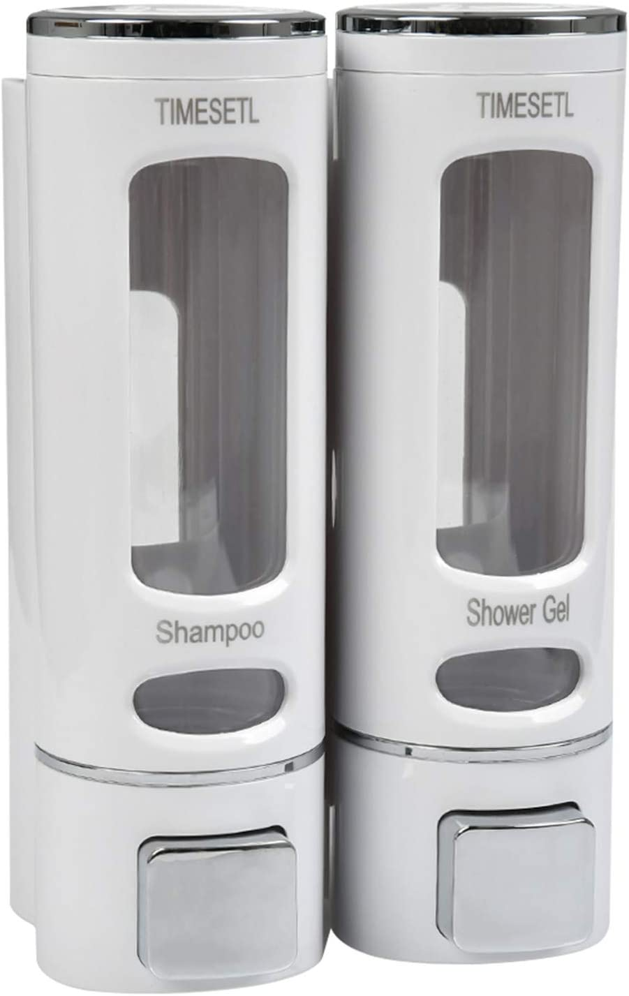 TIMESETL Dispensadores de jabón, 400ML x 2 Dispensador de desinfectante de champú Manual montado en la Pared para champú o Limpiador de Manos, Blanco