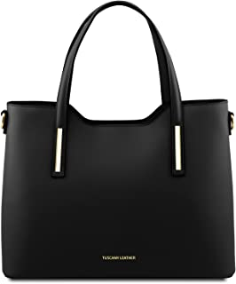 Tuscany Leather Olimpia - Ruga Leather Tote - TL141412 (Black)