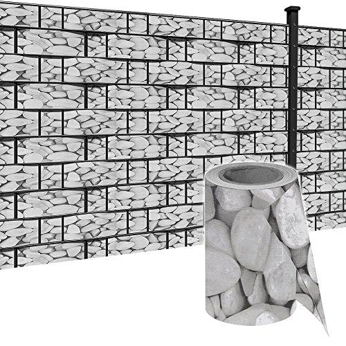 HENGMEI 35m x19cm Sichtschutzfolie PVC Sichtschutzstreifen mit Zaunfolie Befestigungsclipse Windschutz Stabmattenzaun Gartenzaun Blickdicht Doppelstabmatten für Gartenzaun, Balkon, Marmorkies (35m)