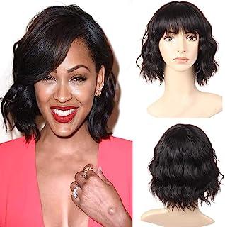 Sponsored Ad - PANEWAY Body Wave Human Hair Wigs With Bangs Short Wavy Bob Wig Human Hair Wigs For Black Women Brazilian V...