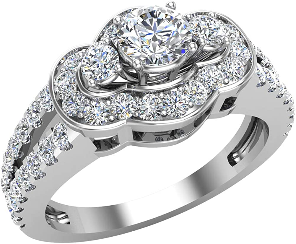 Dealing full price reduction Limited time sale 1.00 ct tw Three Stone Split look Anniversary Shank Engagem Wide