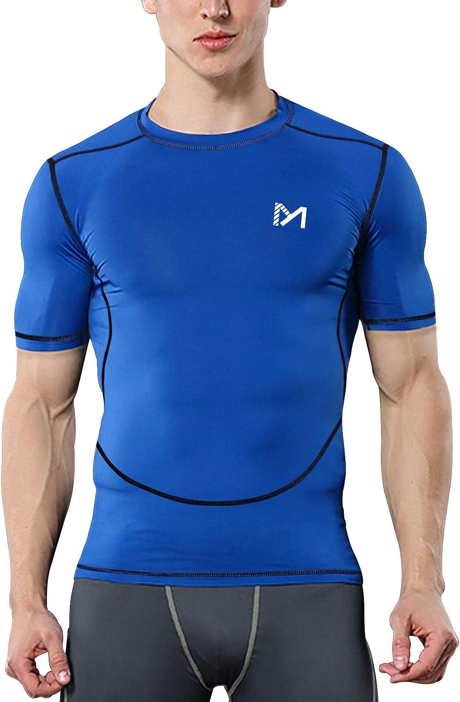 MEETYOO Camiseta Compresion Hombre Manga Corta Camisetas Ropa Deportiva para Running Gym Ciclismo