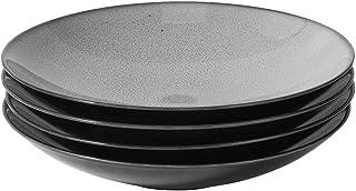 ProCook Del Mar - Vaisselle de Table en Porcelaine - 4 Pièces - Assiette Creuse - 25cm - Glaçure Réactive - gris