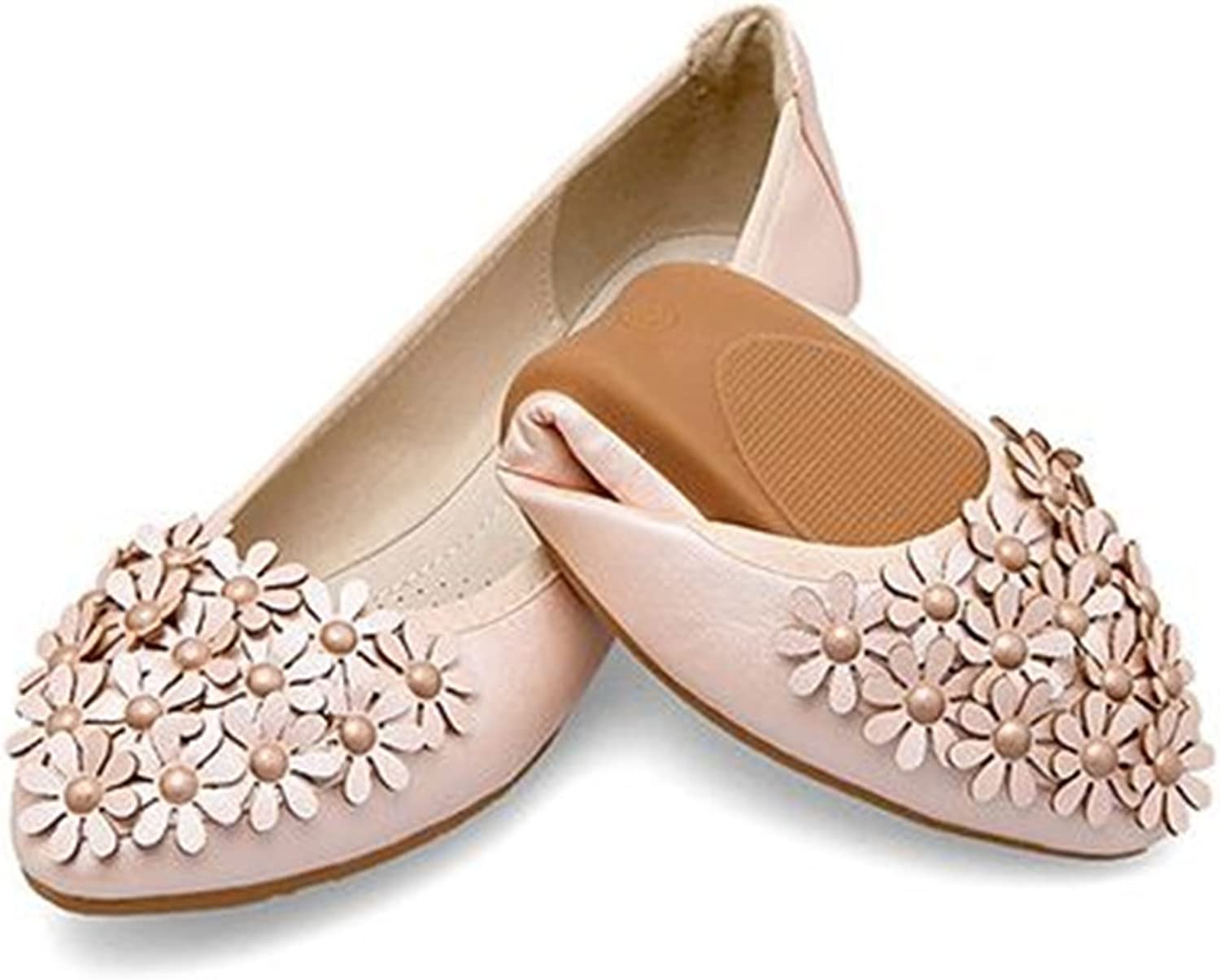 pink town Women Pointed Toe Foldable Soft Flower Flats shoes