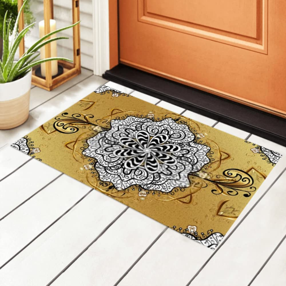 Sales of SALE items from new works Reservation JIUCHUAN Indoor Doormat Golden Floral Element O Pattern Seamless