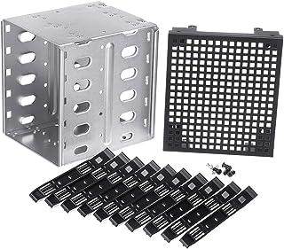 Bandeja de Disco Duro SATA SAS HDD de 5,25 a 5 x 3,5 Pulgadas con Espacio de Ventilador Siver + Black