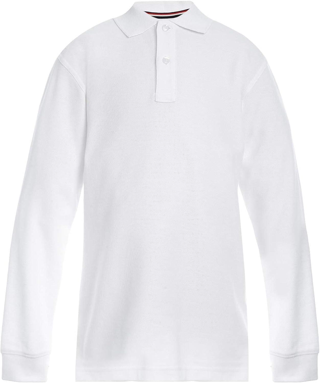 Tommy Hilfiger Kids' Long Sleeve Pique Co-ed Polo Collar Shirt, Boys & Girls School Uniform Clothes