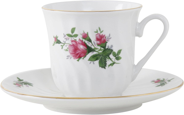 Ciera Vintage pink Porcelain Tea Cup and Saucer with gold Trim, Set of 6; Vintage Floral