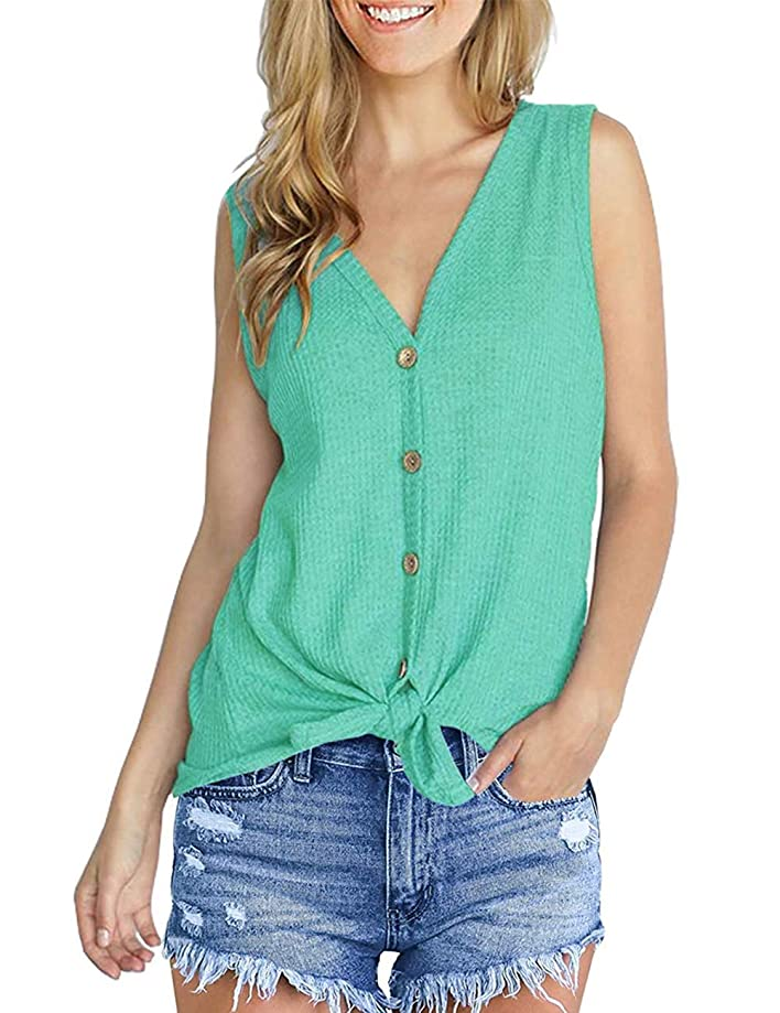 Aokosor Womens Short Sleeve V Neck Button Down Shirts Tie Front Knot Henley Tops Loose Blouses