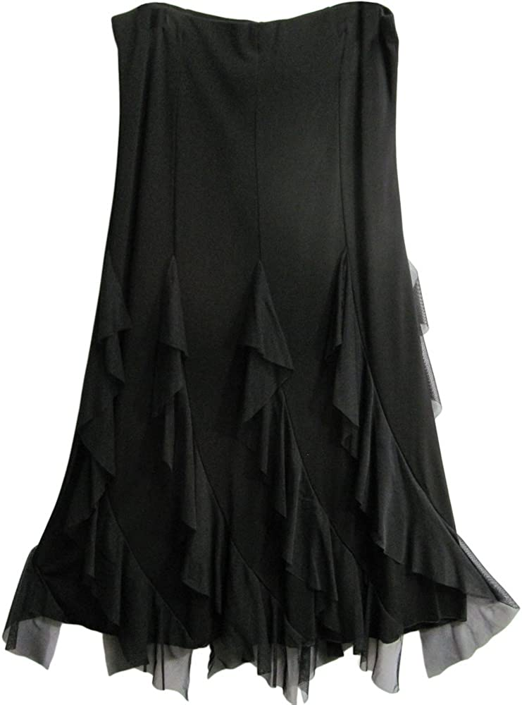 Yoga Trendz Missy Black Fluted Ruffled Stretchy A-Line Formal Long Skirt
