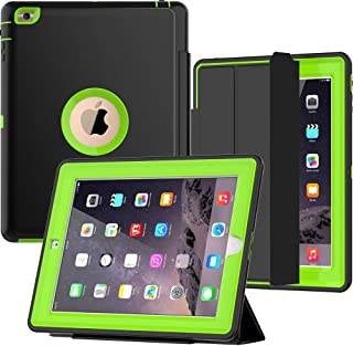 SEYMAC iPad 2/3/4 Case, Three Layer Shock/Drop Protection Rugged Protective Heavy Duty Bumper Case with Magnetic Smart Auto Wake/Sleep Case Compatible with iPad 2nd/3rd/4th Generation(Black/Green)