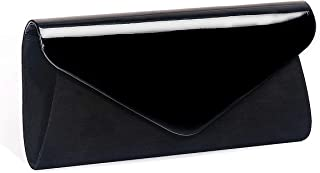 Patent Leather Clutch Classic Purse, WALLYN'S Evening Bag Handbag With Flannelette