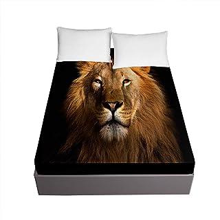 Chickwin 3D Lion Drap Housse en Microfibre, Imprimé Housse de Matelas 30cm Épais Protection de Matelas - Antidérapants Rés...