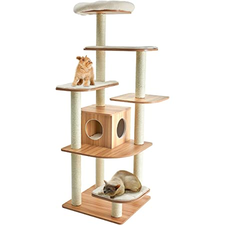 Tangkula Modern Wood Cat Tree, 69-Inch Cat Tower with Multi-Layer Platform, Cat Activity Tree with Sisal Rope Scratching Posts, Cat Condo Furniture w/Washable Plush Cushions for Large Cats Kittens