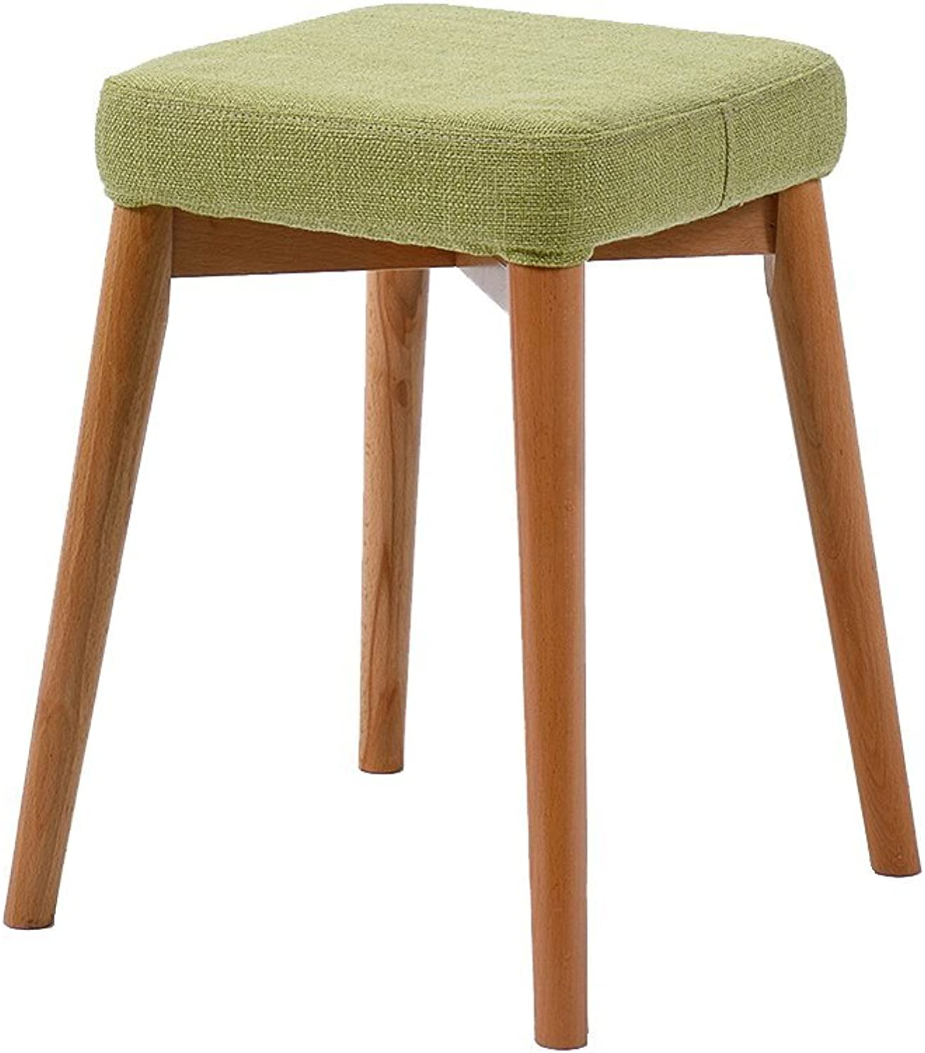 20-Moozhitech Solid Wood Stool Home Bench Dressing Stool Fashion Creative Square Stool Dining Stool Fabric Stool Stool - Small Stool (color   A)