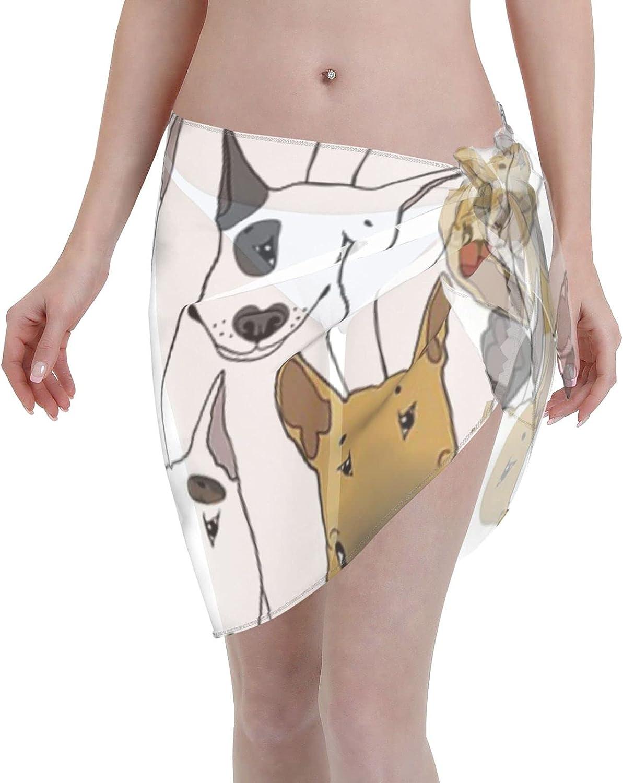2053 pants Funny Bull Terriers Pattern Women Chiffon Beach Cover ups Beach Swimsuit Wrap Skirt wrap Bathing Suits for Women