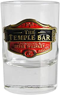 Loose Shot Glass with Temple Bar Traditional Irish Whiskey Metal Badge Design