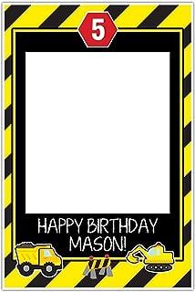 Under Construction Dump Truck Party Zone Birthday Selfie Frame POSTER