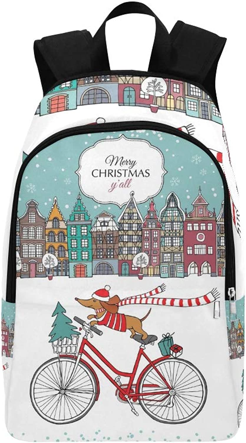 Christmas Card European color Houses Dog Casual Daypack Travel Bag College School Backpack for Mens and Women