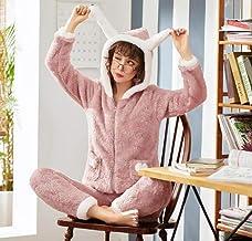 Dames Pyjama Set,Roze Warm Schattig Flanel Casual Hooded Lange Mouw Streep Nachtkleding Zachte Lange Broek Loungewear Herf...