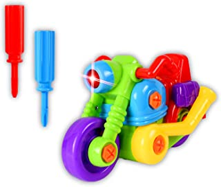 WolVol 12-Piece Take-A-Part Building Motorcycle - Toddler Assembly STEM Toy - Lights & Music - Take Apart for Boys & Girls - Screwdriver Included - Educational Put Together - Motor Skill