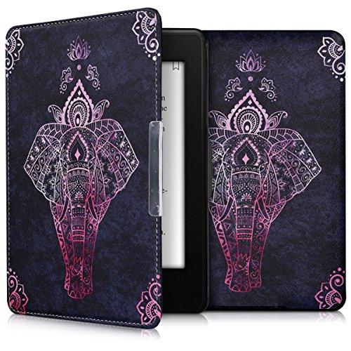 kwmobile Schutzhülle kompatibel mit Amazon Kindle Paperwhite - Hülle Kunstleder eReader (für Modelle bis 2017) - Elefant Zeichnung Pink Anthrazit