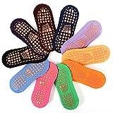 Dizie 2 Paar Trampolin-Socken für Kinder, rutschfest, Baumwollsocken, schmal, aus Baumwolle, 32 – 36, zufällige Farbauswahl