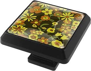 70'S Floral Pattern Square Knobs Pulls Handles Cabinet Wardrobe Furniture Door Drawer Knobs Pulls Handles 3 Pack