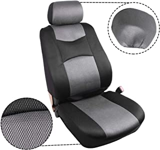 ECCPP Universal Car Seat Cover w/Headrest/Steering Wheel/Shoulder Pads - 100% Breathable Mesh Cloth Stretchy Durable for Most Cars Trucks Vans(Gray/Black)