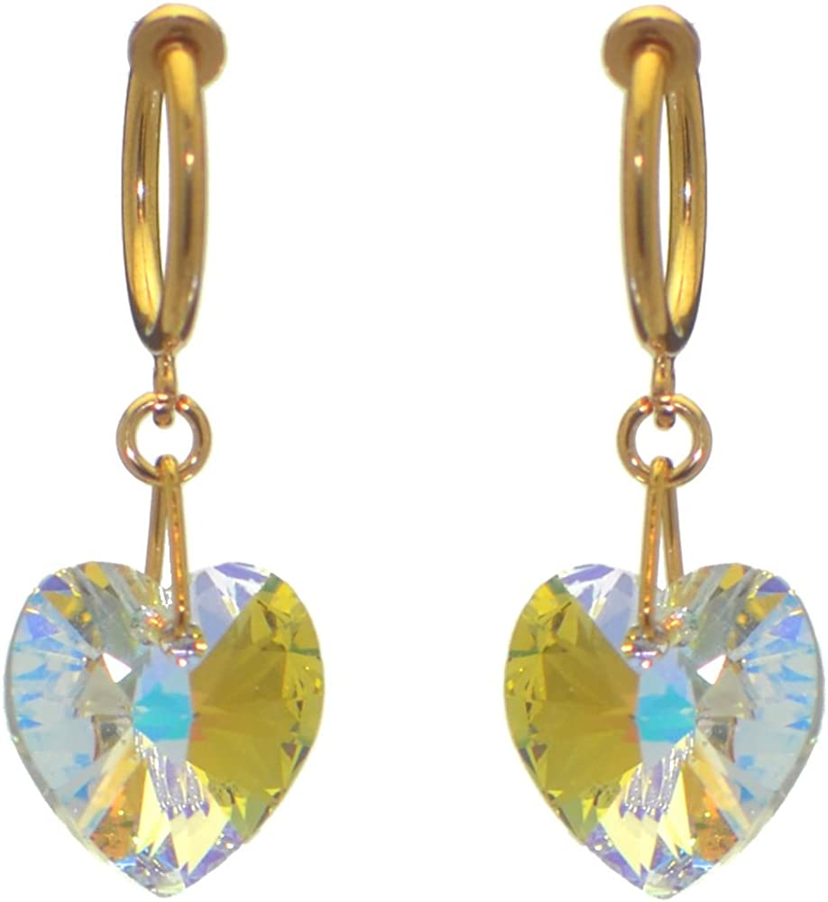 VALENTINE CERCEAU gold plated clear crystal heart clip on earrings