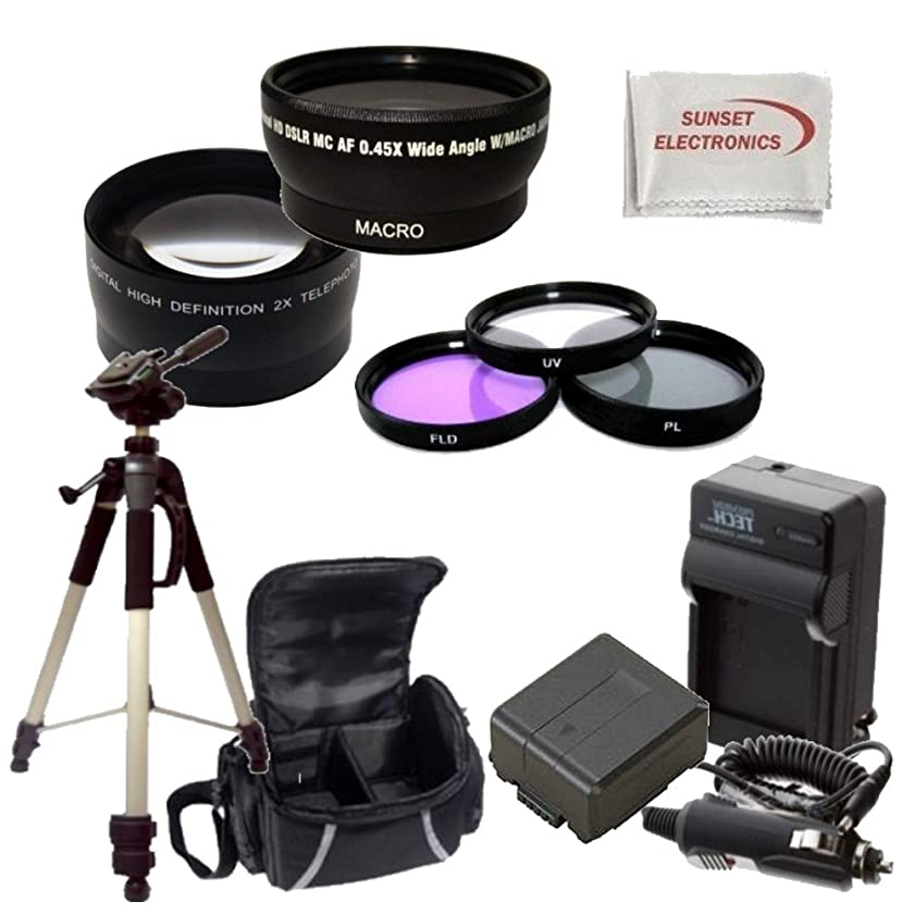 Camcorder Accessory Kit for Panasonic HC-X800/ HC-X900/HC-X900M/HDC-HS900/HDC-SD800/HDC-SD900/HDC-TM900 Camcorders Includes 045X Wide Angle Lens, 2X Telephoto Lens, 3 Piece Filter Kit + More