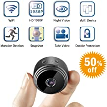 Mini Spy Camera WiFi Hidden Camera, Relohas Wireless HD 1080P Small Cameras,Nanny Camera with Night Vision Motion Detection for Indoor Home Security (Black)