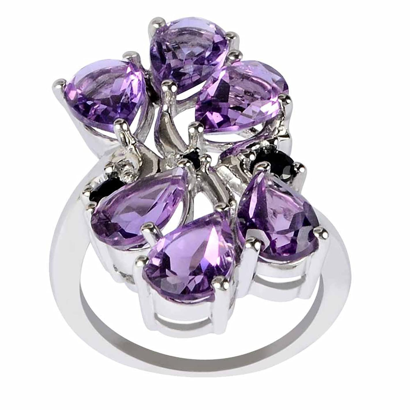 7.57 Ctw Amethyst & Sapphire Stone Rings For Women By Orchid Jewelry: Anniversary & Promise Rings For Women & Her, Multi Birthstone Wedding Jewelry, Fashion Rings Size 8