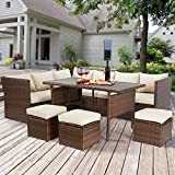 U-MAX Patio Furniture Sets 7 Pieces Outdoor Conversation Set All Weather Wicker Sectional Sofa Couch Dining Table Chair...