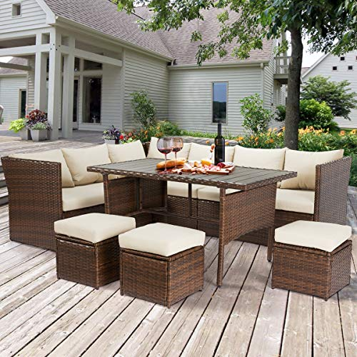 U-MAX Patio Furniture Sets 7 Pieces Outdoor Conversation Set All Weather Wicker Sectional Sofa Couch Dining Table Chair with Ottoman (Beige)
