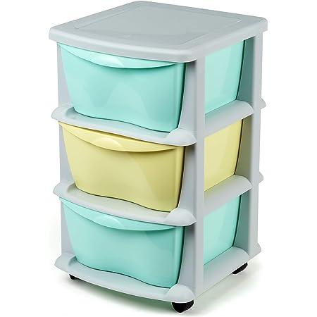Tiroirs de Rangement en Plastique sur des Roues résistantes 3 tiroirs de Cabinet conteneurs de Stockage Vert - Fabriqués en Europe